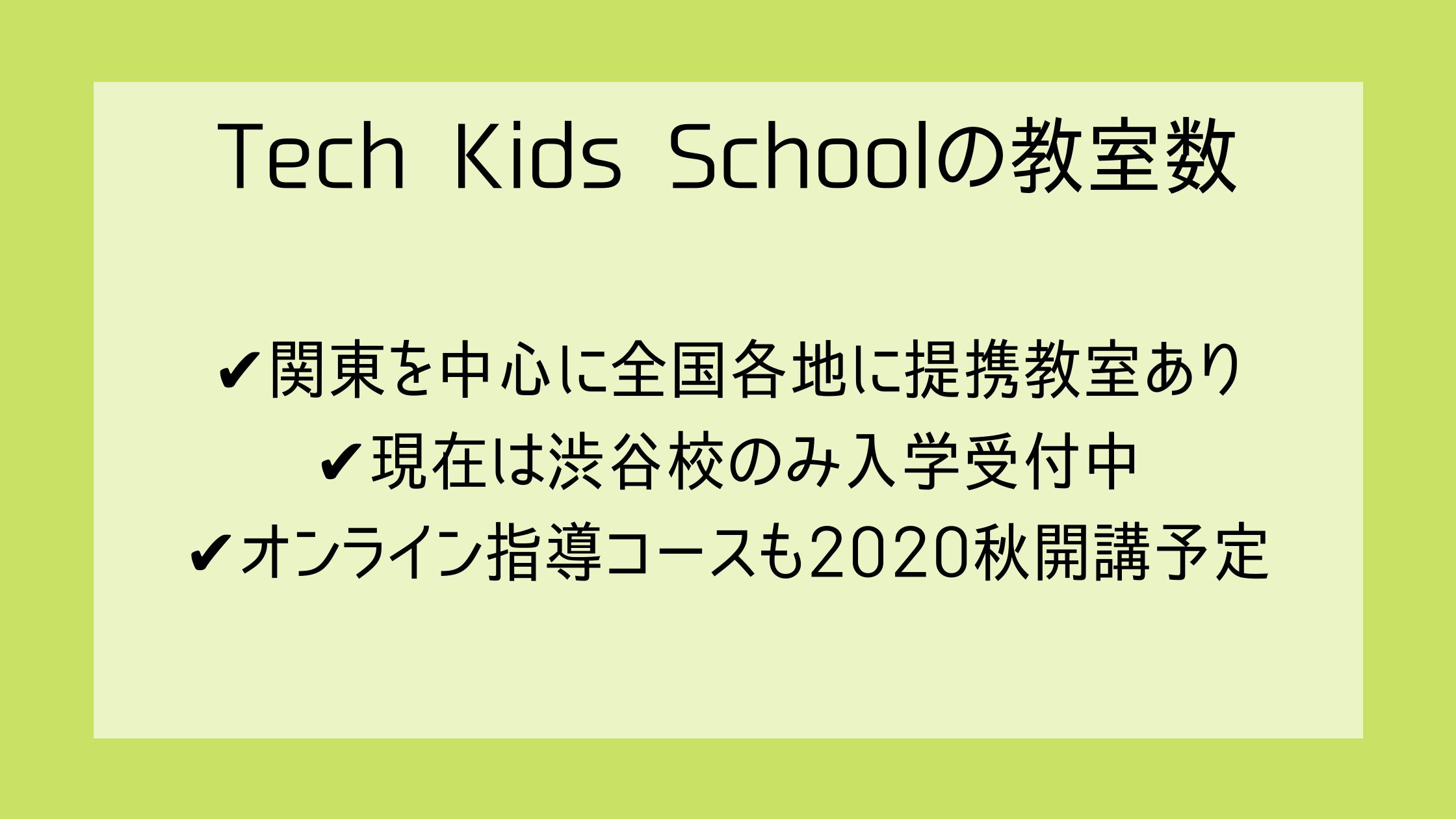 テックキッズスクールの教室数